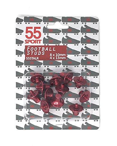 55 Sport Pro Custom Ersatzstollen für Fußballschuhe, 8 x 10 mm 4 x 13 mm, rot