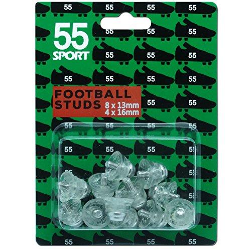 55 Sport Ersatzstollen für Fußballschuhe – Klar – 12×13 mm + 4×16 mm